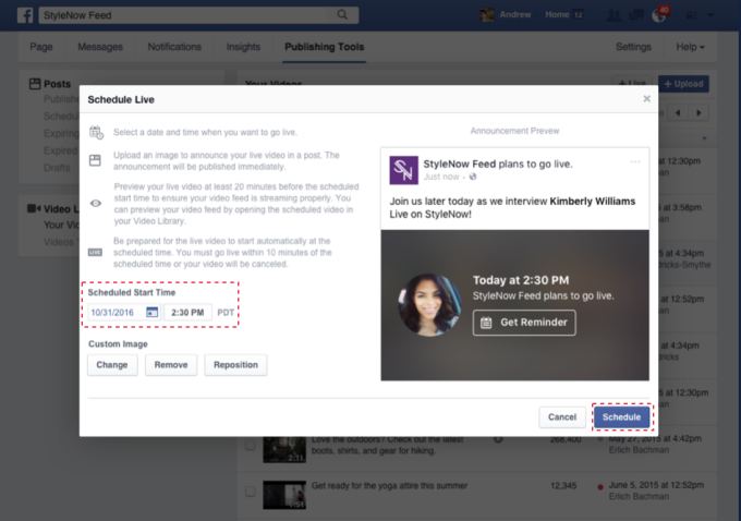 On peut désormais planifier un live sur Facebook