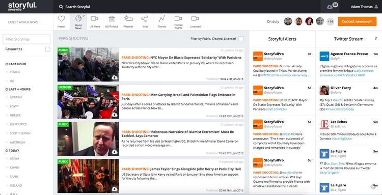 """Capture d'écran du """"Newswire"""" de Storyful, le jour des attentats à Paris."""