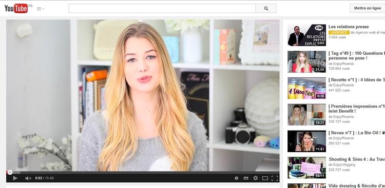 EnjoyPhoenix, la Youtubeuse qui fait trembler la presse féminine. (Capture d'écran chaîne Youtube d'EnjoyPhoenix)