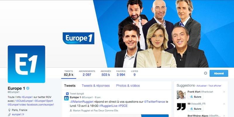 Compte Twitter d'Europe1 (Capture d'écran)